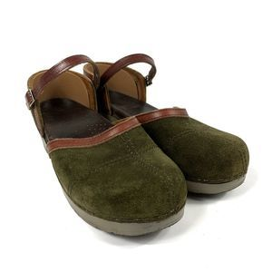 Dansko Madrigal Olive Green Suede Mary Jane Clogs